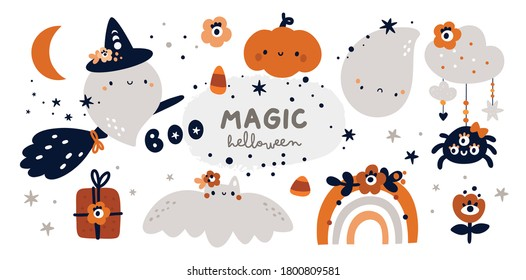 Happy Halloween childish collection with design elements. Halloween collection: ghost, witch, pumpkin, rainbow. Ideal for cards, poster, prints, anniversary, invitation and party decoration