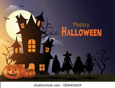 Happy Halloween. Children costume in Halloween fancy dress to go Trick or Treating. moon, Banner, Witch, Haunted House, Pumpkins and Bats. vector illustration background