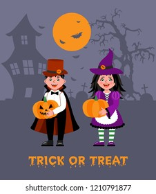 Happy Halloween. Children dressed in Halloween fancy dress to go Trick or Treating. Illustration in cartoon style.