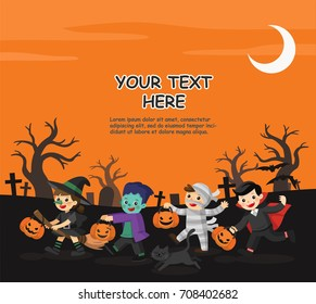 Happy Halloween. Children dressed in Halloween fancy dress to go Trick or Treating.Template for advertising brochure.