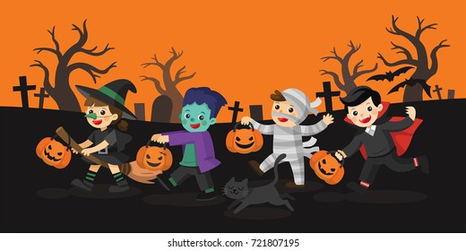 Happy Halloween. Children dressed in Halloween fancy dress to go Trick or Treating. Illustration.