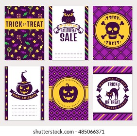 Happy Halloween! Collection of colorful banners. Sale, party invitation, trick-or-treat and greeting cards. Vector set.