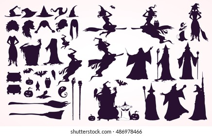 Happy Halloween collection: heads,bodies, witch attributes -separated elements. Witches and Wizards Silhouettes (flying, making magic), broomsticks, hats, bats, ghost. Hand drawn vector illustration.