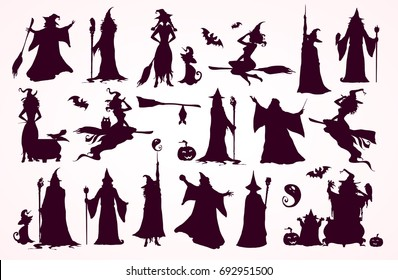 Happy Halloween collection: heads,bodies, witch attributes, elements. Witches, Wizards Silhouettes (flying, making magic), broomsticks, hats, bats.. Hand drawn vector illustration.
