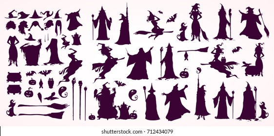 Happy Halloween collection, witch creator: heads,bodies, witch attributes -separated elements. Witches and Wizards Silhouettes (flying, making magic),...Hand drawn vector illustration