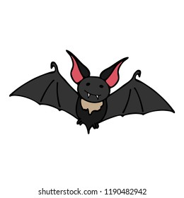 Happy halloween color vector icon with cute vampire bat. Trick or treat. Cute naive doodle, spooky element. Graveyard, monster, fall celebration. Witchcraft and magic art. Cartoon horror illustration.
