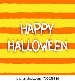 Happy Halloween. Comic style Lettering on funny pattern background. Vector illustration