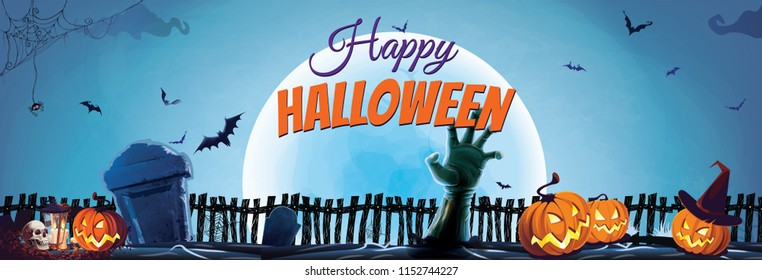 happy halloween concept banner halloween fence and pumpkins with grave background