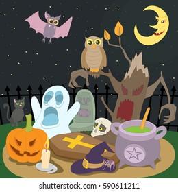 Happy halloween concept. Cartoon illustration of happy halloween vector concept for web