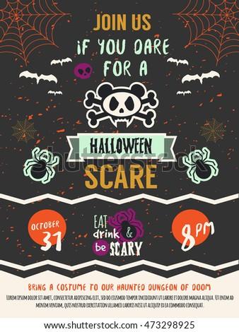 Happy Halloween Costume Party Invitation Template Stock Vector