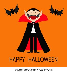 Happy Halloween. Count Dracula wearing black and red cape. Cute cartoon vampire character with big open mouth, tongue, fangs. Two flying bats. Flat design. Orange background. Vector illustration