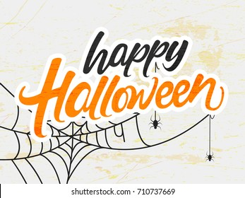 Happy Halloween, Creative vector hand lettering text with hanging spiders and web on Retro background for the celebration of Halloween.