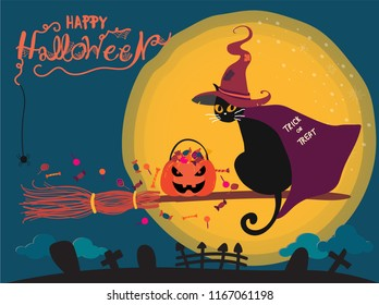Happy Halloween cute black cat with witch hat and cape riding on a witch broom over the moon and cemetery