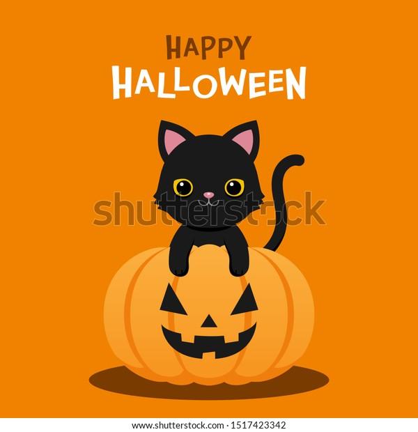 Happy Halloween Cute Black Cat Halloween Stock Vector Royalty Free 1517423342