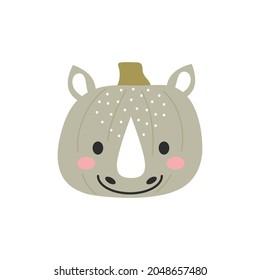 Happy Halloween cute cartoon pumpkin with rhino face. Halloween party decor for children. Childish print for cards, stickers, invitation, nursery decoration. Vector illustration.
