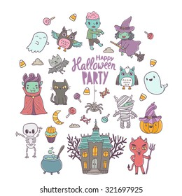 Happy Halloween cute characters - vampire, zombie, dracula, pumpkin, witch, ghost, bat, devil, mummy, skeleton, owl and black cat
