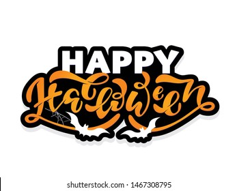 Happy Halloween - cute hand drawn doodle lettering art poster banner template