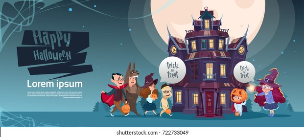 Happy halloween cute monsters walking to gothic castle with ghosts holiday greeting card flat vector illustration