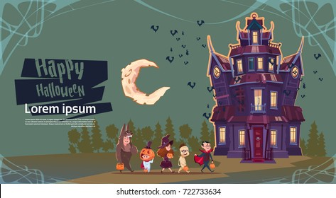 Happy halloween cute monsters walking to gothic castle with ghosts holiday greeting card concept flat vector