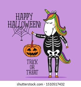 Happy Halloween, Cute Unicorn in  skeleton costume - halloween quote on purple background.  Good for t-shirt, mug, scrap booking, gift, printing press. Holiday quotes.