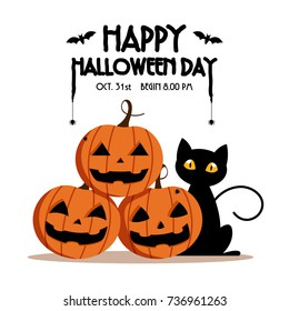 Happy Halloween Day ,  Bat and spider on text , Cute pumpkin smile spooky scary but cute and black cat party isolated on white background , vector illustration , sign element