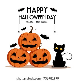 Happy Halloween Day ,  Bat and spider on text , Cute pumpkin spooky scary smile and black cat party isolated on white background , vector illustration , sign element