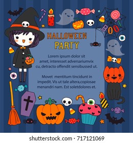 Happy halloween day. Cute character girl wearing halloween costume with text halloween party. Greeting card, poster, party invitation. Copy space for text. Flat design. Vector illustration.