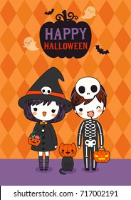 Happy halloween day. Cute couple boy, girl and cat wearing halloween costumes with text happy halloween. Greeting Card, Poster, Party Invitation. Flat design. Vector Illustration.