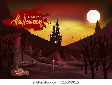Happy halloween day vintage poster, card, invitation, cat on coffin in graveyard, ghost castle in the dark wood forest, wasteland fantasy, horror bloody road abstract background vector illustration