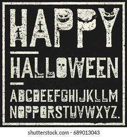 Happy Halloween decorative alphabet. Grunge stamp letters with scary elements (bats, graves, pumpkins). Vector font template.