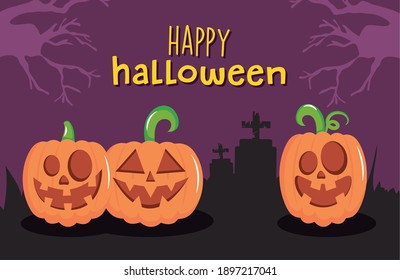 Happy halloween design with scary pumpkins over cemetery silhouette and purple background, vector illustration