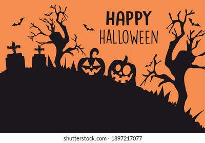 happy halloween design with silhouette of cemetery with graves and pumpkins over orange background, colorful design, vector illustration
