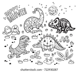 Happy Halloween dinosaurs, set of characters, zombie, pumpkin, skeleton, mummy and ghosts in outline. Ink vector texture in childish style great for coloring book
