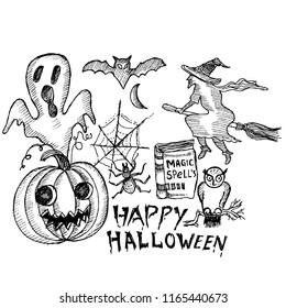 happy halloween, doodle