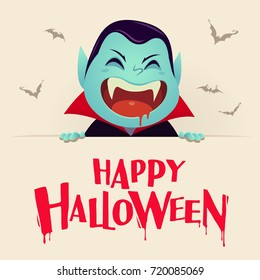 Happy Halloween. Dracula Vampire with big signboard. Retro Vintage.
