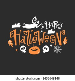 Happy halloween emblem. Lettering composition for banner, poster, greeting card, party invitation.