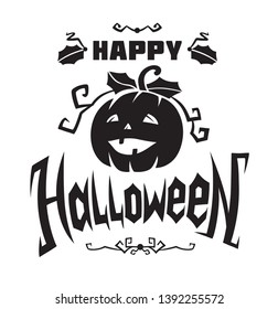 Happy Halloween emblem or logo badge hand drawn calligraphy. All Saints' Eve black vector lettering design for banners poster or t-shirt on a white background. Typographic symbol with Jack's lamp
