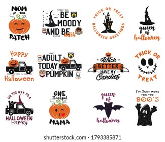 Happy Halloween emblems logo bundle. Holiday label designs collection with pumpin, witch, bat and texts. Cute decorations for halloween. Vector badges illustrations set