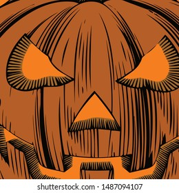 Happy Halloween With Evil Pumpkin Background Trick or Treat Handwritten Calligraphy with web spiderman with texture for poster , banner , tshirt , party invitation