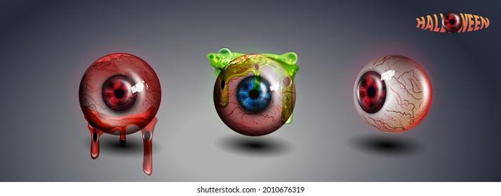 Happy Halloween Eye. Red Eye. Scary Bloody Realistic Eyeballs. Spooky Human Eyeball With Grunge Blood Splatter. Vector