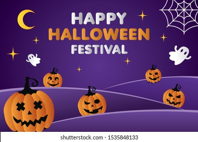 Happy Halloween festival pumpkins ghost spider and the yellow moon on dark purple background