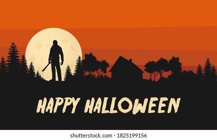 Happy Halloween Flat Design Vector Graphic Friday the 13th Crystal Lake Landscape
