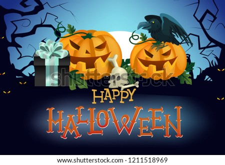 happy halloween flyer design pumpkins crow stock vector royalty