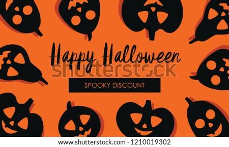 Happy Halloween Flyer Template Spooky Discount Stock Vector Royalty