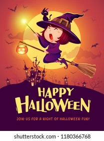 Happy Halloween. Halloween flying little witch. Girl kid in halloween costume holds a magic wand. Retro vintage.