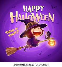 Happy Halloween. Halloween flying little witch. Girl kid in halloween costume flies with black cat and pumpkin lantern. Retro vintage. Purple background.