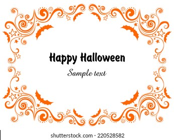 Happy Halloween! Frame isolated on White background. Celebration background with bat and place for your text.  Vector illustration