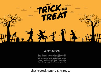 Happy Halloween. Frankenstein with werewolf, witch, angel of death, dracula walking silhouette go Trick or Treat. Design template and web for banner, poster, greeting card. Vector illustration