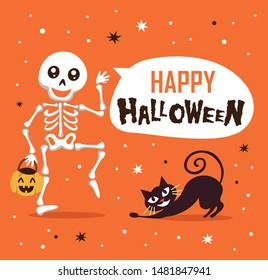 Happy Halloween with funny skeleton and cute cat cartoon character. Halloween festive for banner, poster, greeting card, party invitation.
