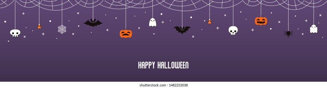 Happy Halloween garland, bunting with pumpkins, bats, ghosts, spider webs, skulls, corn candy, on violet background. Hand drawn vector illustration. Holiday concept. Banner, invitation design element.